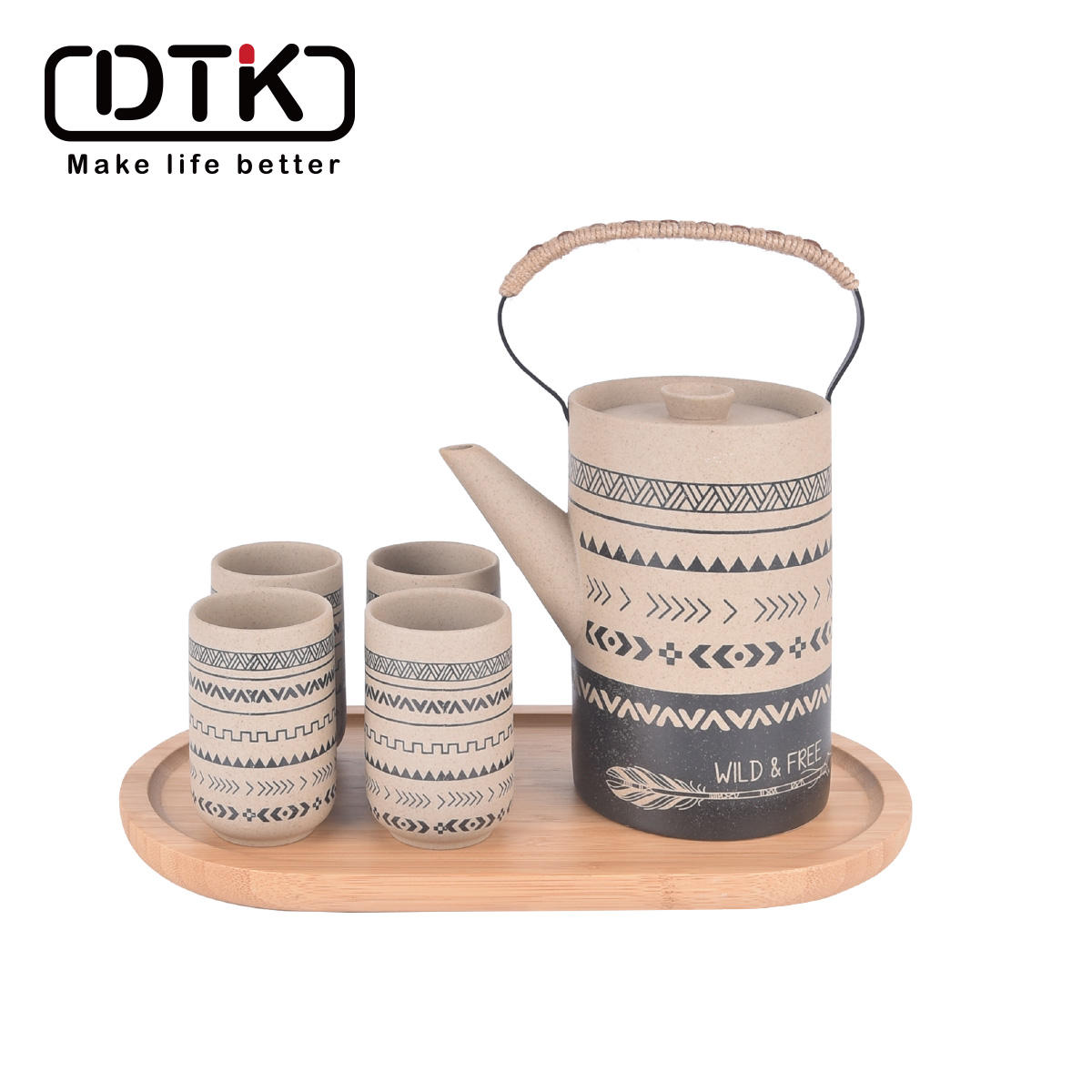 DTK Newly Designed Series Indian Series Product Kitchenware Clay Bamboo Tea Pot set