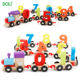 Early Education Puzzle Wooden Assembled Train Blocks Kindergarten Children Wooden Digital Toy Car