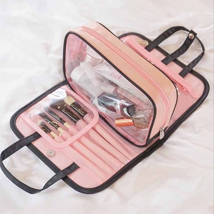 Promotional Wholesale Personalized Fashion Transparent Polychromatic makeup bag folding fold up cosmetic bag
