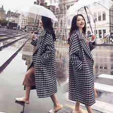 Autumn and winter Korean version of the plaid fashion loose double-sided plaid long woolen coat