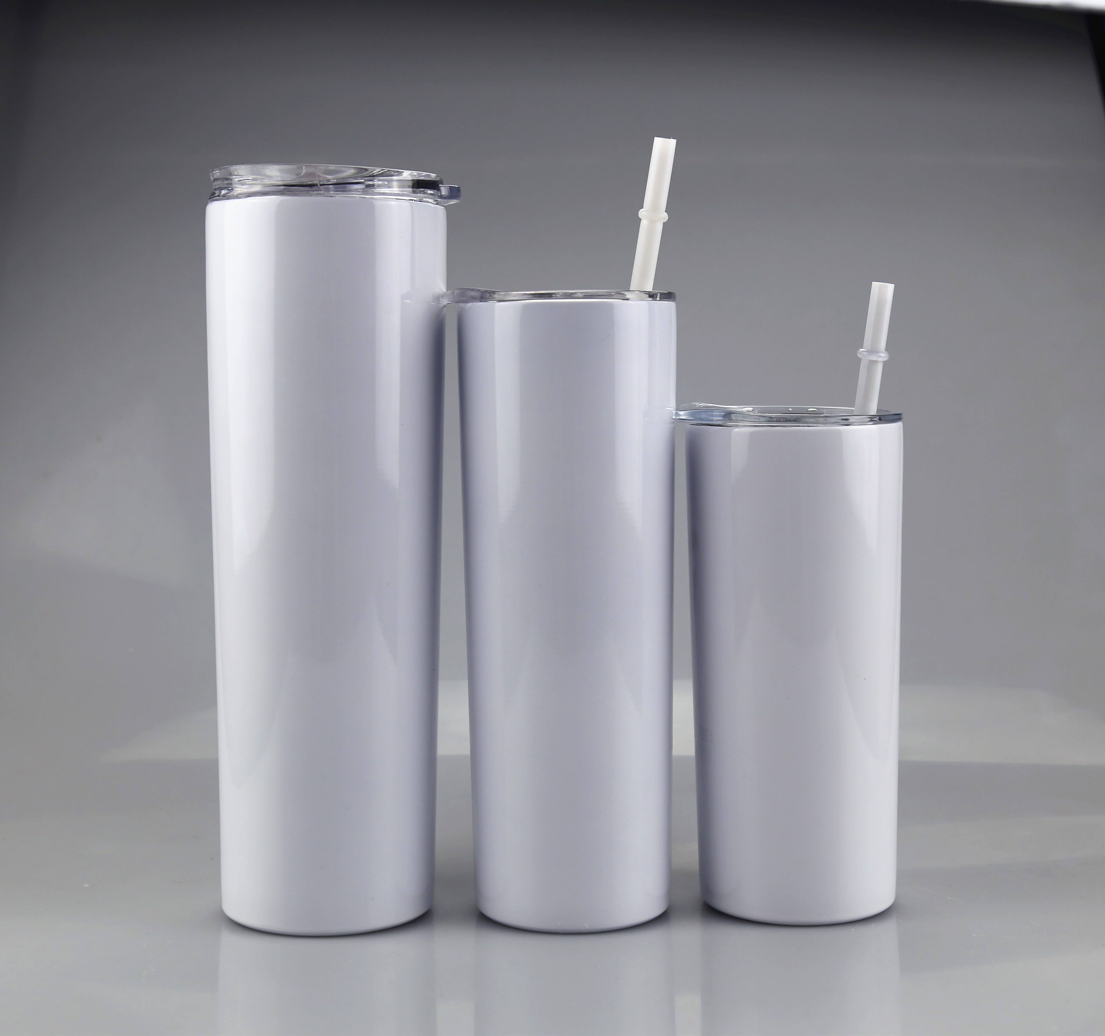 Wholesale double wall tumbler 20oz skinny sublimation bank tumbler cups in bulk with lid and straw