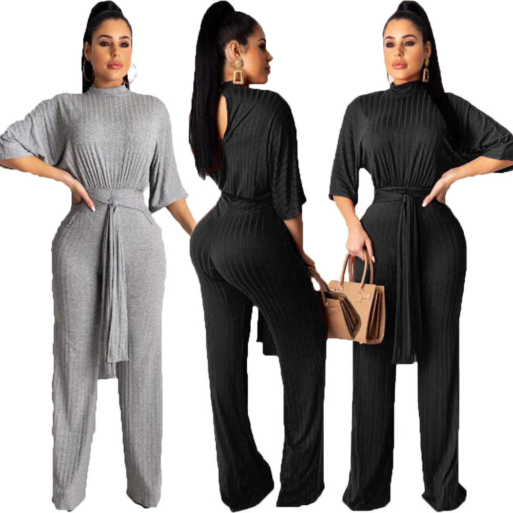 Fashion Trui Jumpsuit voor Vrouwen Wijde Pijpen Winter Herfst Fall Club Nachtjapon Kerst Belted Casual Jumpsuit RS00107