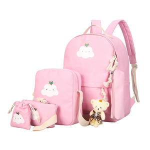 Hot Selling 5pcs Shoulder Teen Girl Backpack Set Canvas Middle High School Student Bag Backpacks