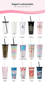 Custom Logo Insert Papier Transparant 500 Ml Herbruikbare Clear Double Wall Plastic Cup 20 Oz Bulk Drink Ice Water Tumbler met Stro