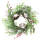 Appear realistic snow frosted white evergreens blossom red berry wreath berries pinecone leaf door snowy christmas flower wreath