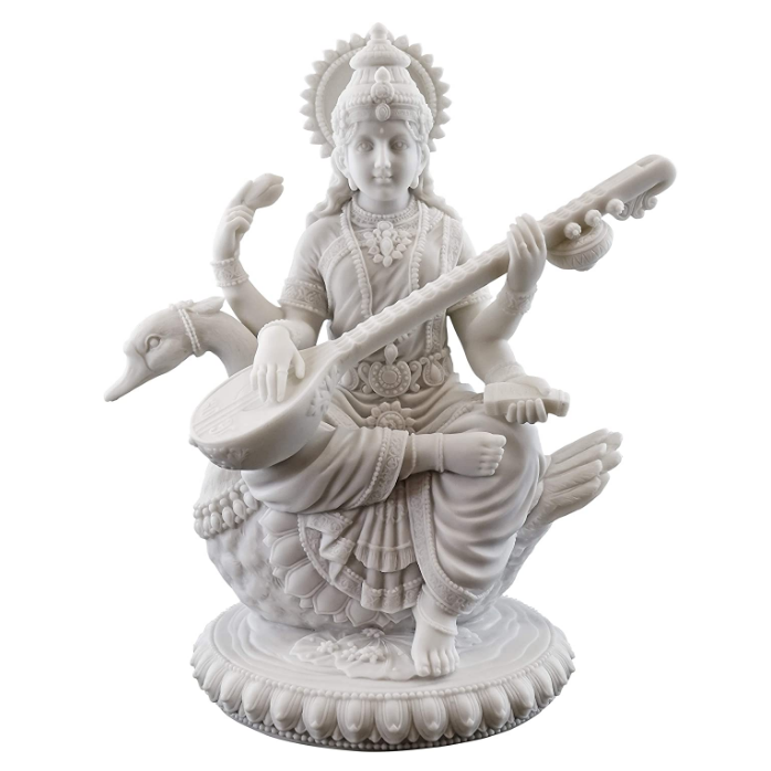 Resin Saraswati Sitting On Swan Statue Playing The Vina Figurine Poly Resin Hindu Goddess Idol of Knowledge Sculpture