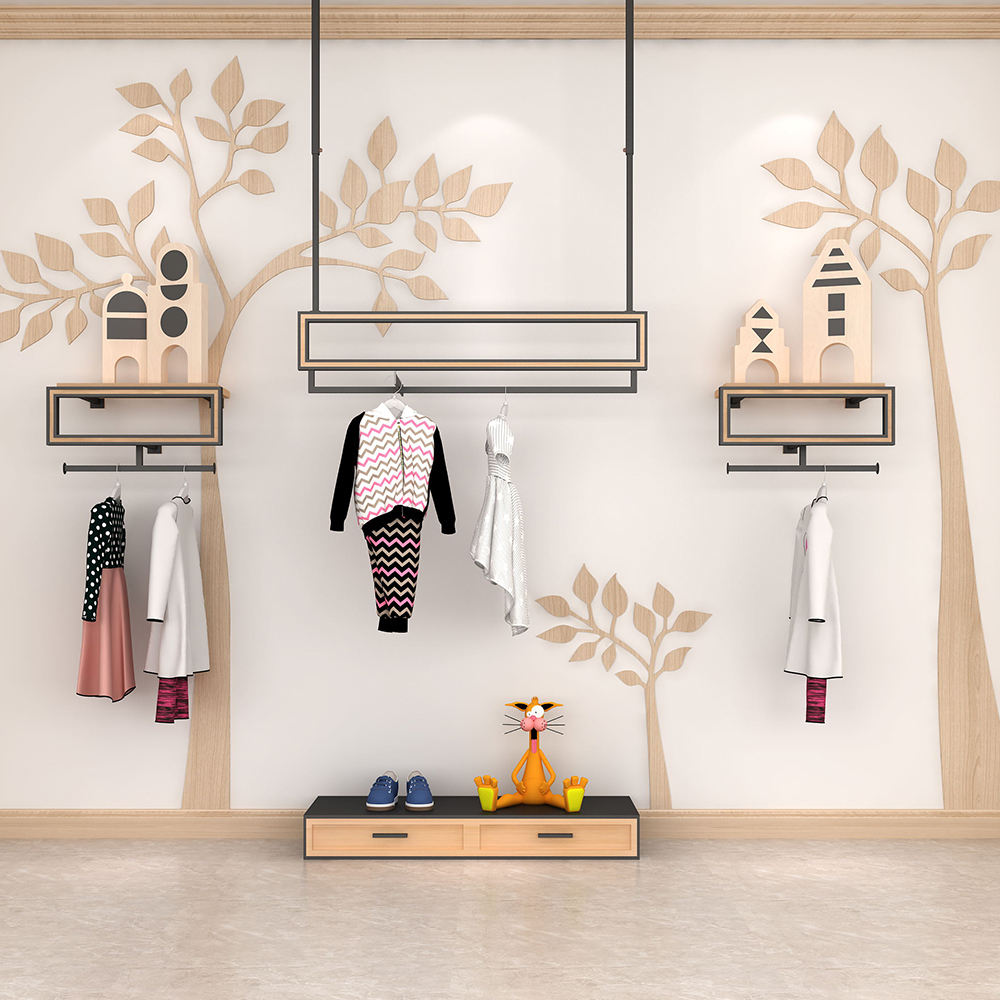 Clothing Shop Decoration Metal Rack Clothes Display Wall Mount Rack Hanger for Retail