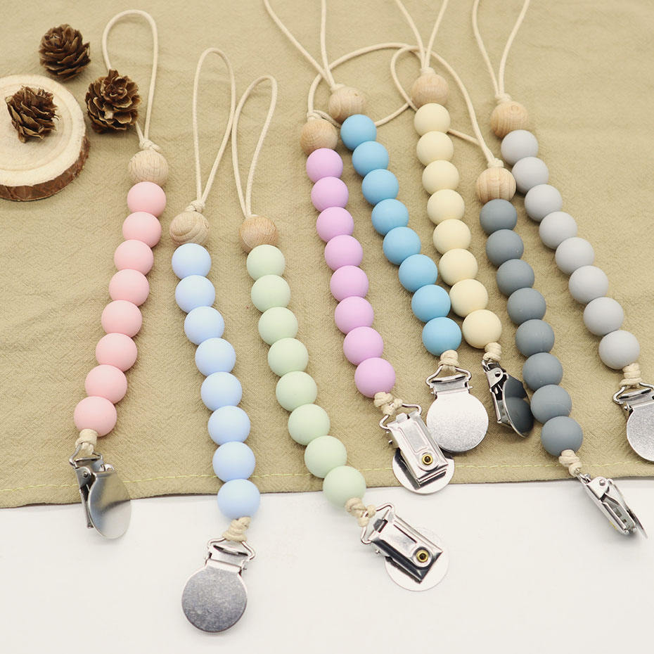 Wholesale Chewable Beaded Holder Wooden Dummy Baby Silicone Soother Chain Pacifier Clip