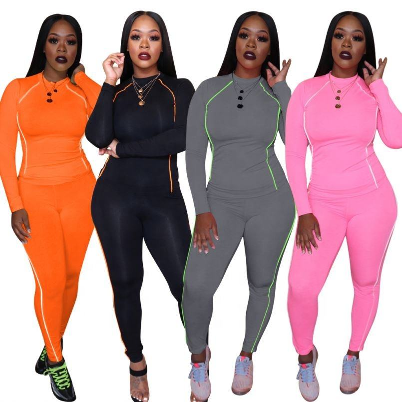 Sport two piece matching wear reflective panel women solid jogging suit for night run