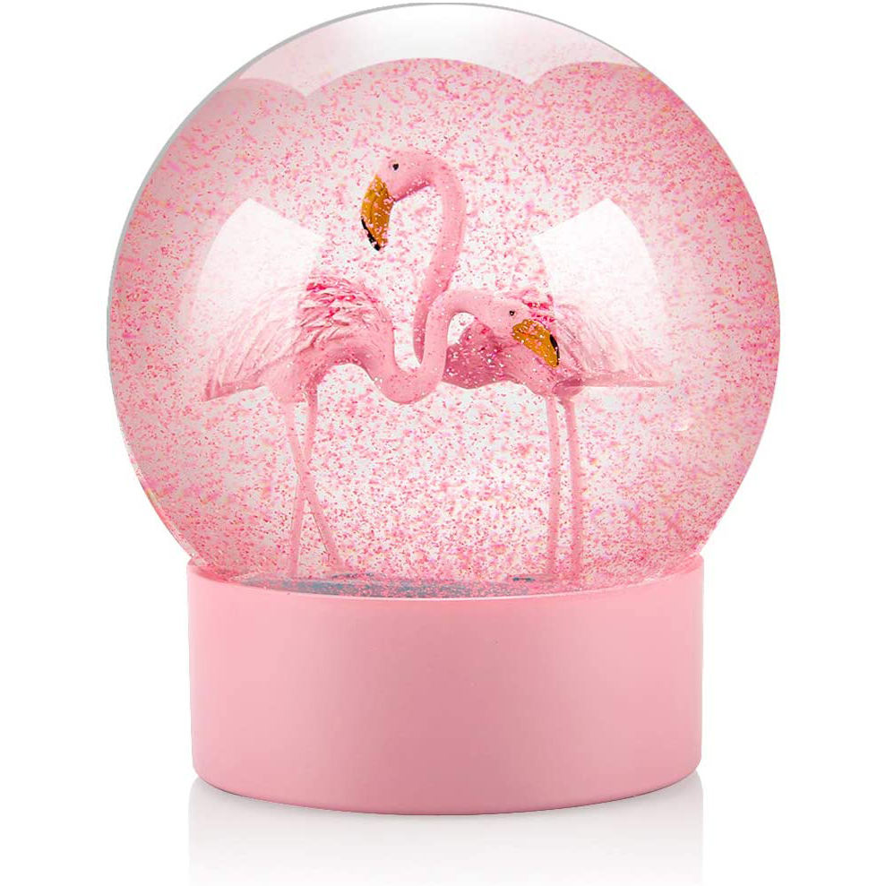 Flamingos Snow Globes with Pink Base, 100MM Glitter Glass Globe for Home Decoration Girls Kids Gifts Boy Table Decorations