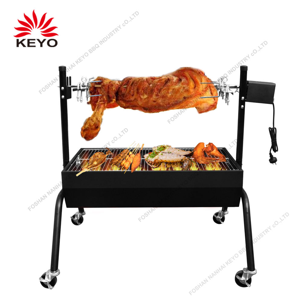 Big Size Spit Roaster Lamb Grill Electric Auto Skewers Rotating Rotary Barbecue BBQ Rotisserie Grill With Electric Moto