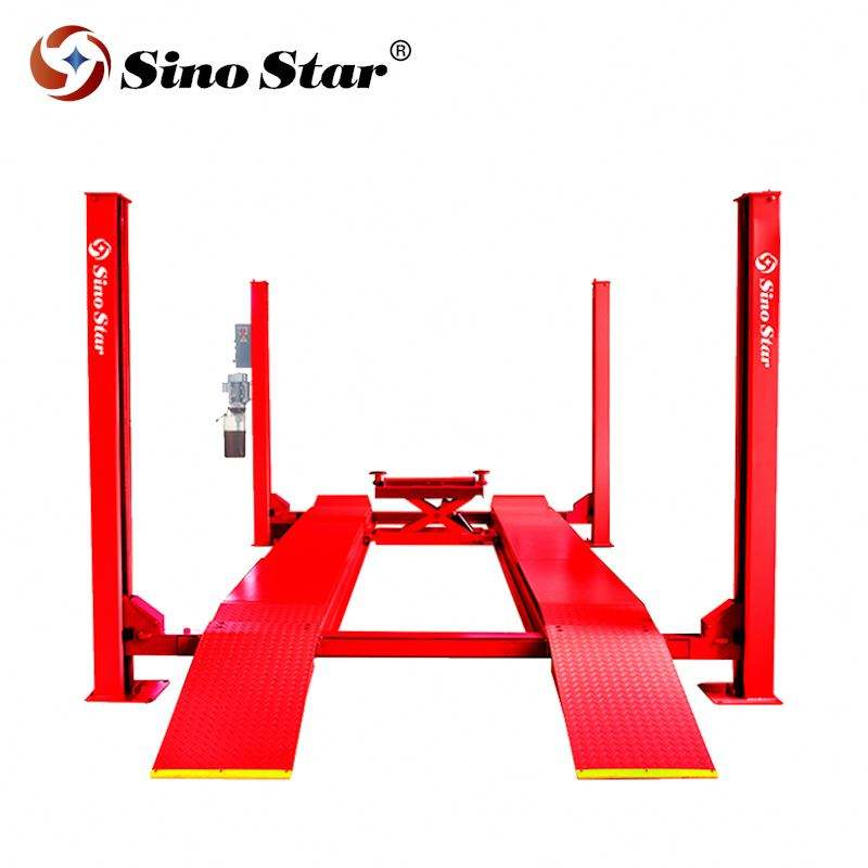 5T manual one side release 4 post lift with rear sliding plate for doing wheel alignment for CE certification Shanghai Fanyi