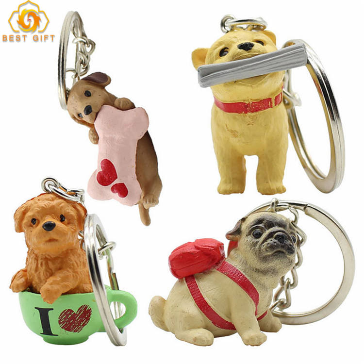 Super Cute Puppy Pendant Mobile Phone Hanging PVC Keychain