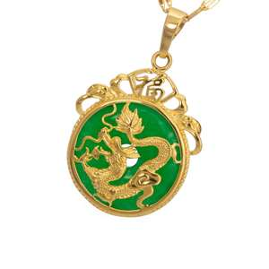 Artilady cross chain gold plated alloy pendant Malay jade dragon pendant necklace for party gift