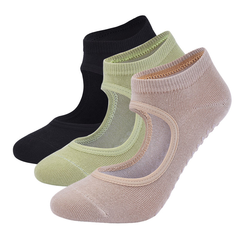 Wholesale cotton anti-slip colorful grip pilates soft ankle knitted Ribbon Yoga Socks
