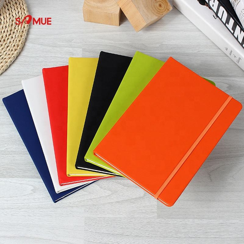 Wholesale business gift custom embossed logo pu leather hardcover notebook