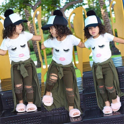 European Style Kids Girls Clothes Sets White Summer Eyelashes Tops T-shirts+Hole Pants 2pcs Set Clothing Suits