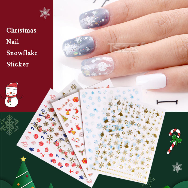 TSZS Nail Xmas Design Lovely Animal Garland Colorful Sticker 3D Nail Art Charm Christmas Decals Decoration