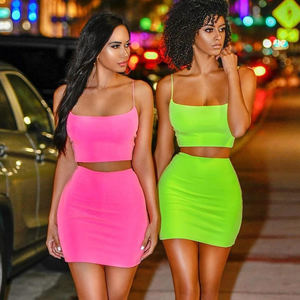 High Quality summer fashion Sexy solid color Sleeveless sling club bodycon two piece set short mini Dress