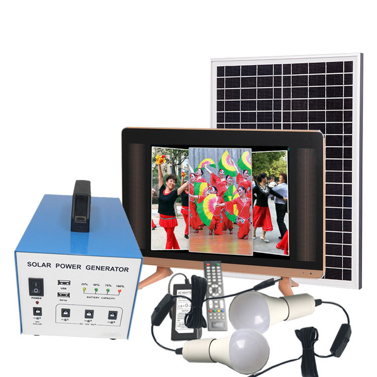 New solar powered led panel light led tv 32 inch 14inch home theatre system