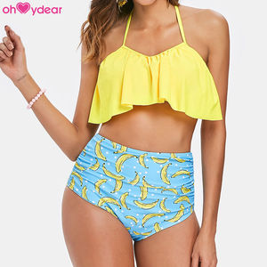 Can ODM High Waist Sexy Ruffled Summer Women's Banana Bikini Set