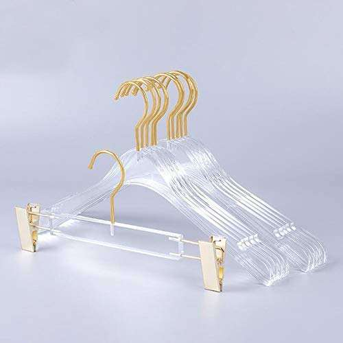 Clear Crystal Plastic Hangers With Clips Acrylic Sheet Bulk Hanger Space Saving Storage
