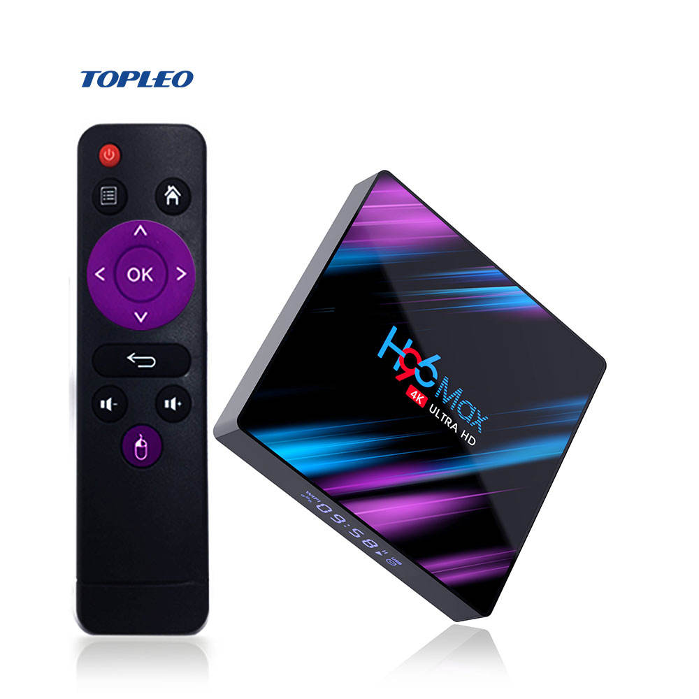 High grade H96 max RK3318 Quad Core 64bit 4K ultra HDR 4GB RAM android 9.0 smart tv set up box