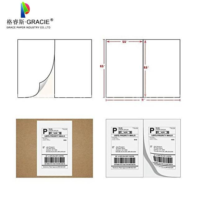 4000 Half sheets Self Adhesive Shipping labels A4 Sticker 2 per sheet 210x297mm or usps label 5.5 x 8.5 inch (2 carton)