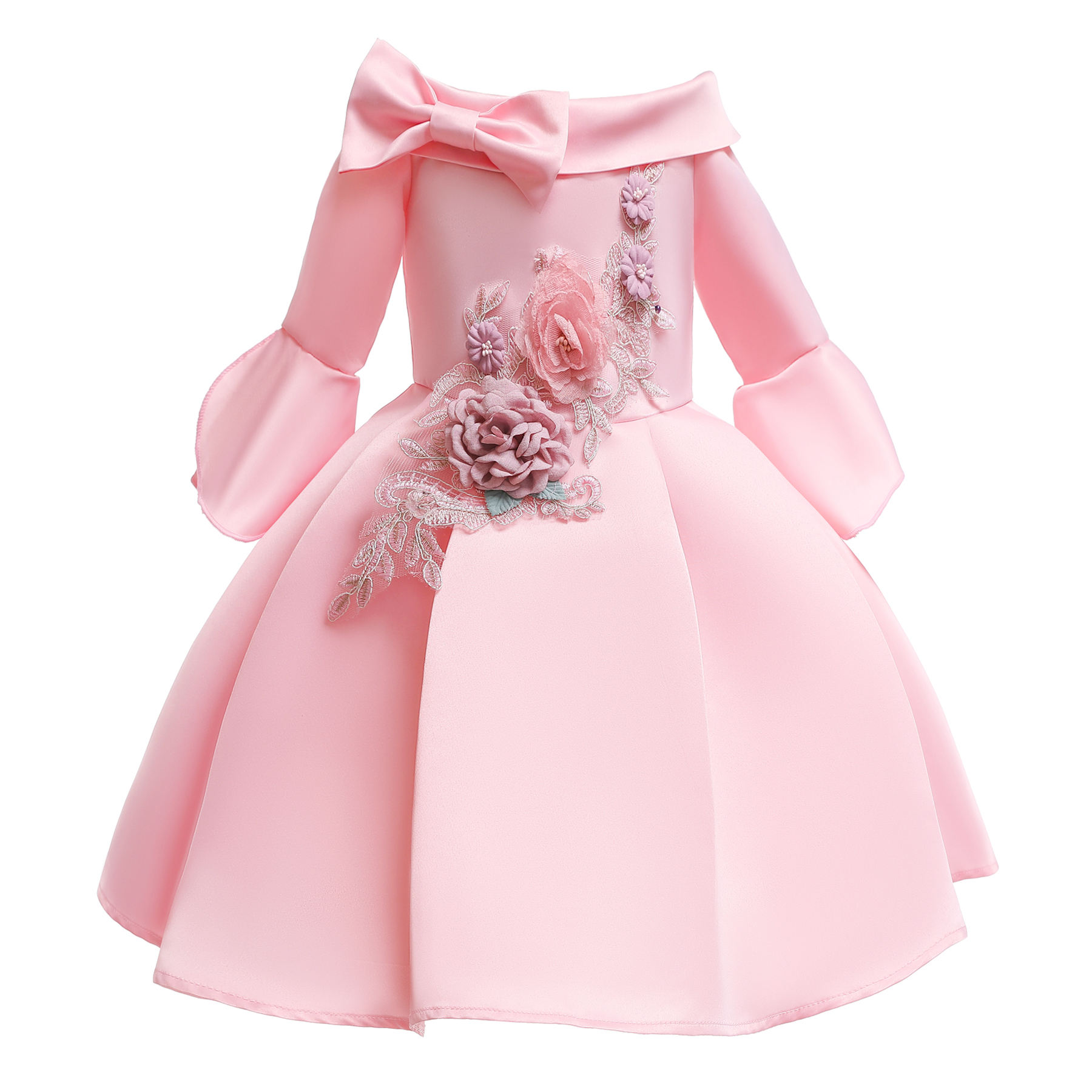 summer fancy flower baby girl long sleeve short dresses wedding gowns luxury frock design