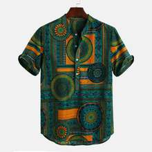 African Design Clothing Men Shirts Short Sleeve Printed Casual Hawaiian Beach Shirts