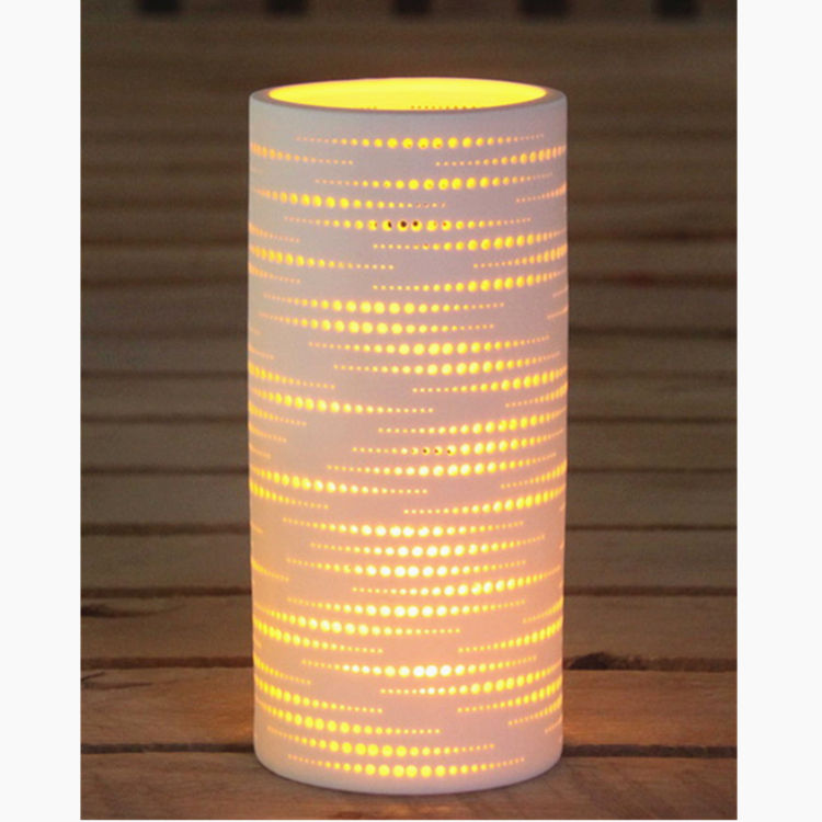Discount exquisite cheap cylinder shape living room ceramic led table lamp night light