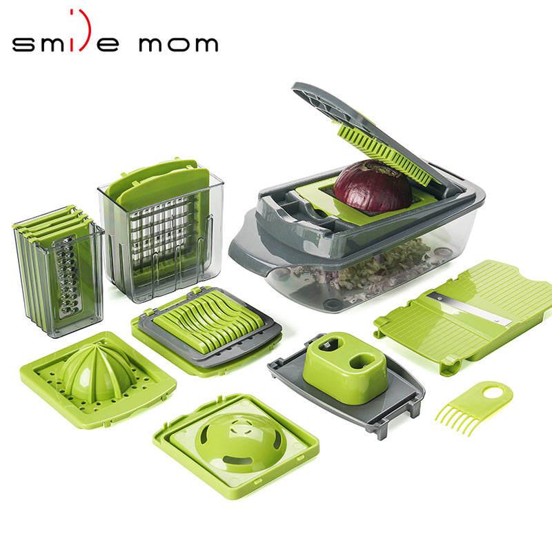 آلة تقطيع الخضروات والفواكه من Smile mom 2019 متعددة الوظائف من البلاستيك ، قطاعة طعام ، قطاعة طعام