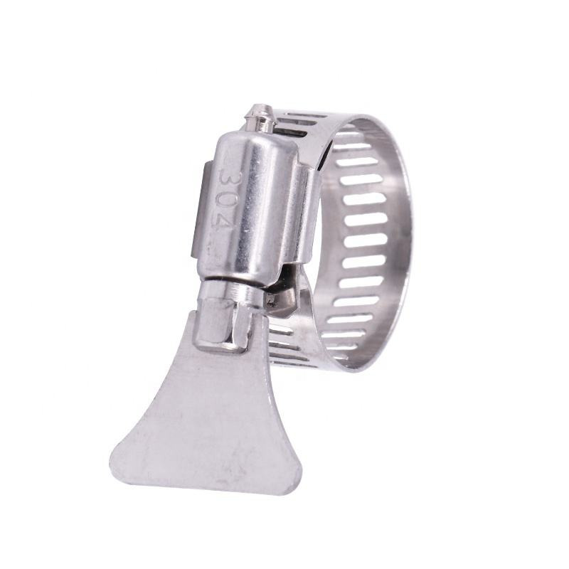 American style butterfly handle stainless steel hose clamp