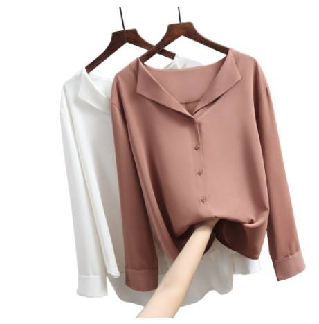 Hb7097a 2020 Korea Casual Solid Female Shirts Outwear Tops New Women Chiffon Blouse