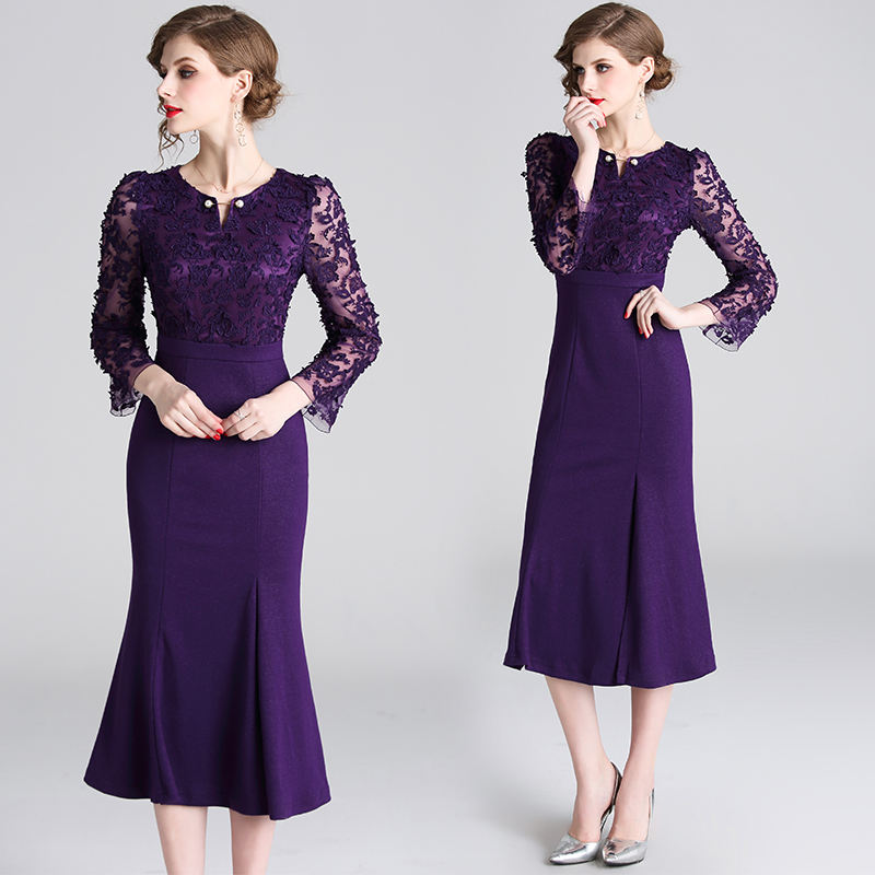 Newest designs ladies temperament female autumn purple lace embroidered long skirt was thin sexy split dress