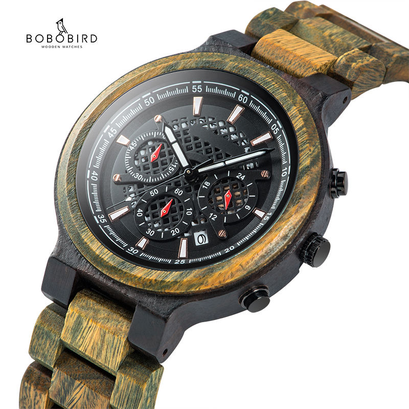 BOBO BIRD Hot Selling Military Chronograph Men Green Sandalwood Watch