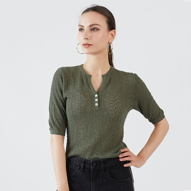 Hot selling OEM quality hollow ladies summer thin knit wear half placket women short sleeve sweater pullover