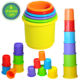 Kids food grade PP plastic stack and counting cups children toys educational baby stacking cups