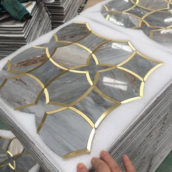 grey marble tile and brass tile luxury waterjet marble mosaic