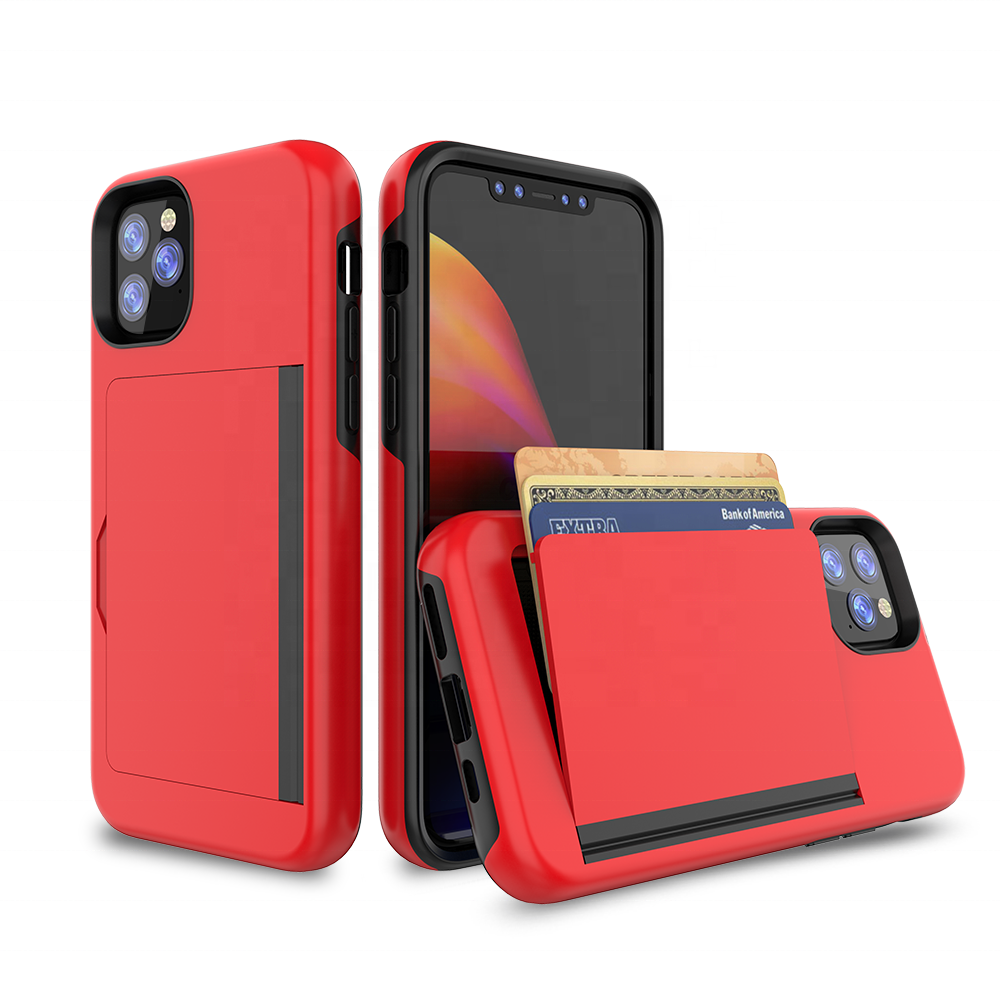 Factory New Style pc tpu hybrid 2 in 1 flip card holder waterproof phone cover case for iPhone 11
