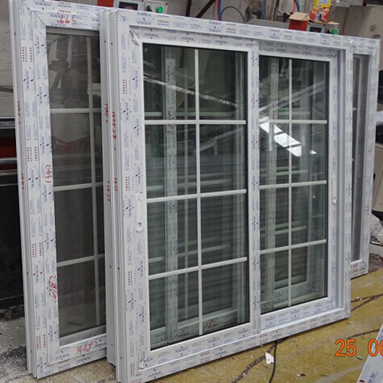 UPVC/pvc windows single glassed window with grill design for Panama