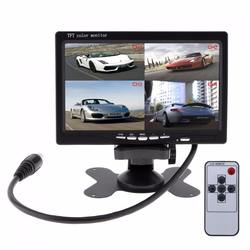 7 Inch 12V 4 Split Quad Video Displays + Automatic Identify Input Signal TFT LCD Car Monitor with Stand-alone Headrest