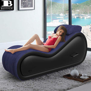 comfortable flocking inflatable sex sofa for support deeper position couple love sex air lounge chair furniture with pillow
