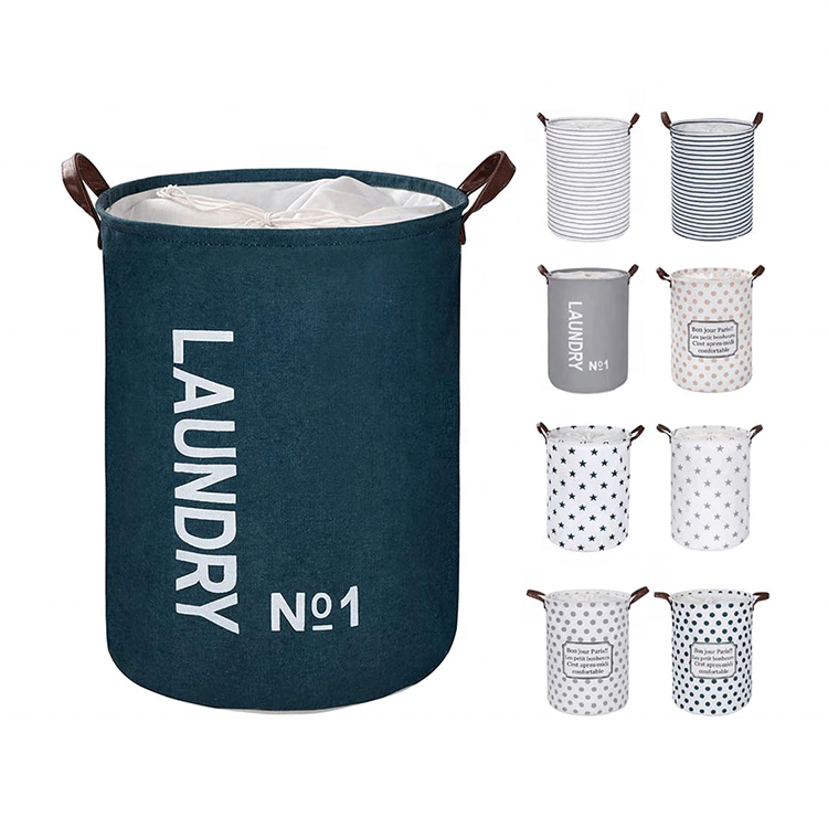 Collapsible Large Laundry Hamper Portable Laundry Basket Foldable Fabric Drawstring Waterproof Round Cotton Linen Storage Basket