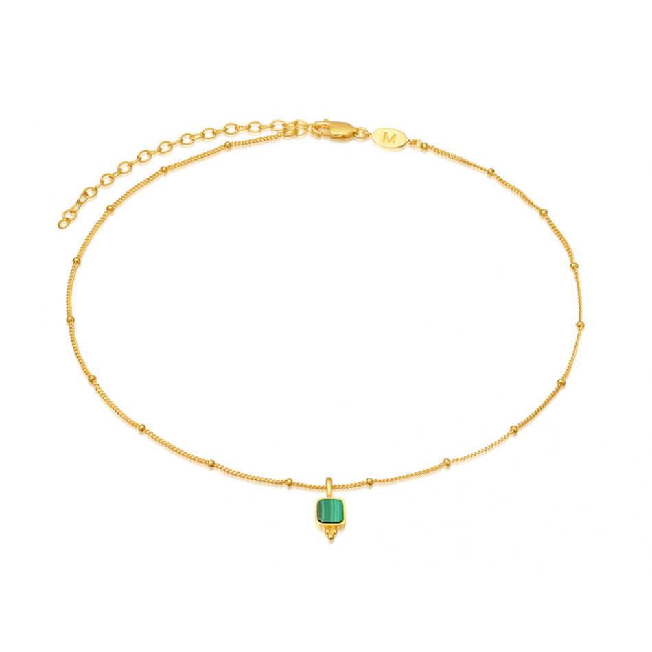 925 sterling silver malachite choker necklace for women 18K gold vermeil fashion necklace jewelry