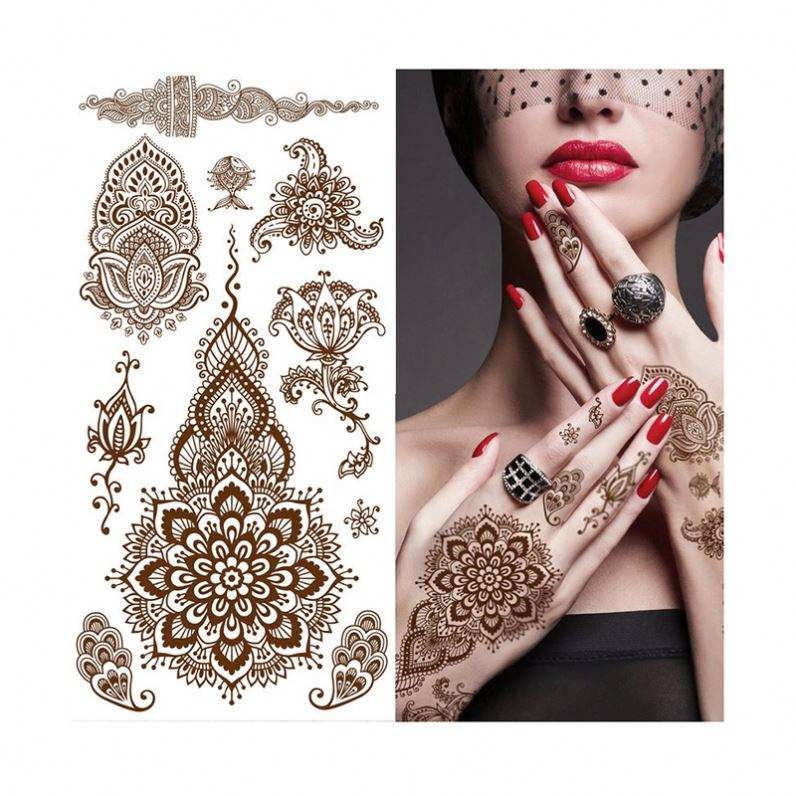 Beauty sticker henna tattoo sticker temporary brown henna hand tattoo sticker