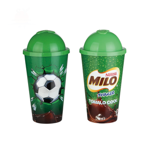 Hot selling promotion wholesale shaker pp tumbler 500ml soccer drinking water plastic cup for kids with lids
