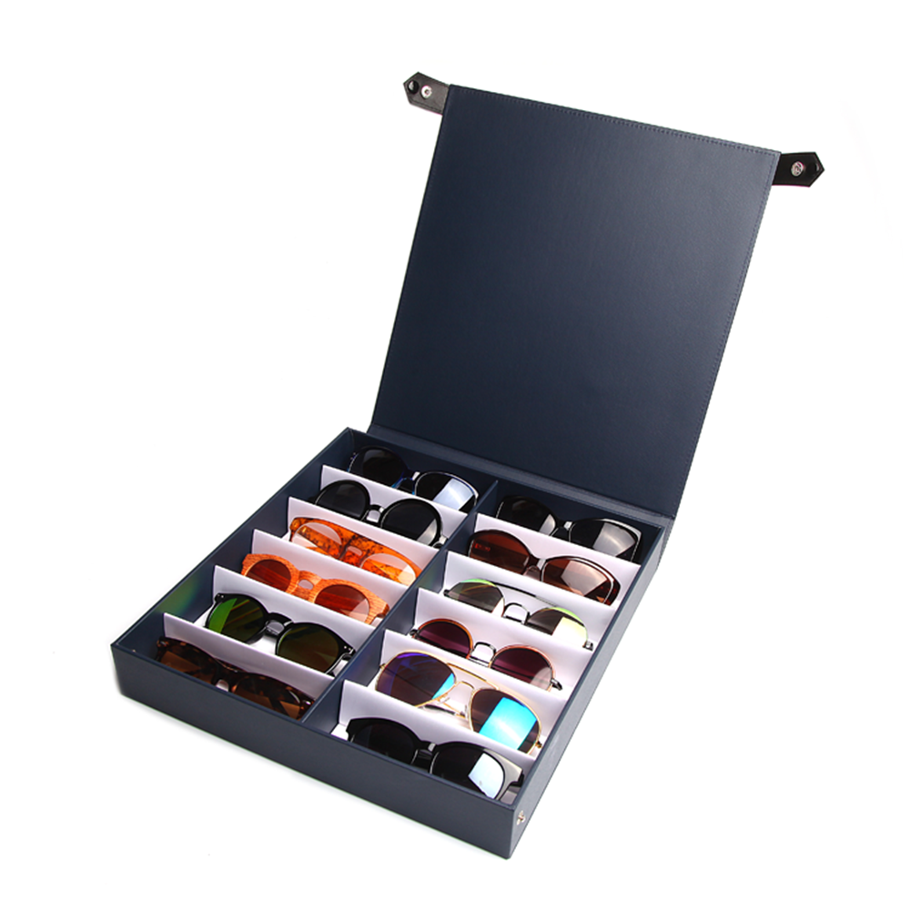 Glasses Display Case - 12 Slots Tray For Eyewear (Sunglasses, Eyeglasses, Reading Glasses And More)
