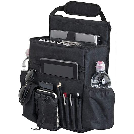 Car Front Seat Organizer with Dedicated Tablet Laptop Storage, Soft Adjustable Shoulder Strap and Hardened Buckles
