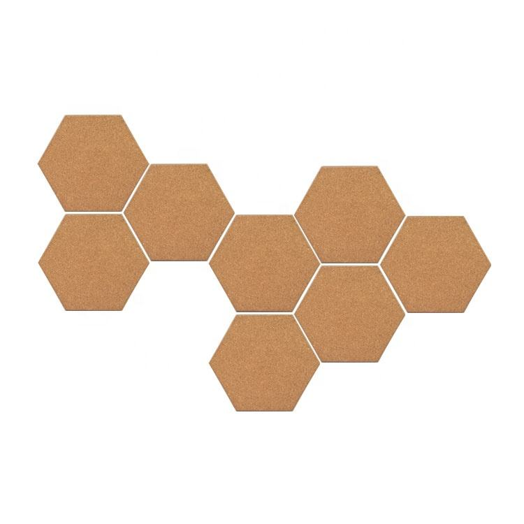 Shrink packed 8x250x216mm Premium Beveled Edge Hexagon Shaped Cork Board Tiles for Wall Bulletin Set of 8